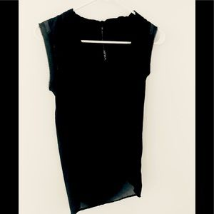 IMPROVD Black Cowl Neck Jersey Front Sheer Tunic